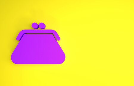 Purple Clutch bag icon isolated on yellow background. Women clutch purse. Minimalism concept. 3d illustration 3D render Archivio Fotografico