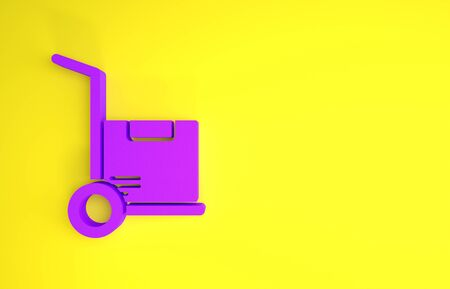 Purple Hand truck and boxes icon isolated on yellow background. Dolly symbol. Minimalism concept. 3d illustration 3D render