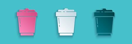 Paper cut Coffee cup to go icon isolated on blue background. Paper art style. Vector Illustration Иллюстрация