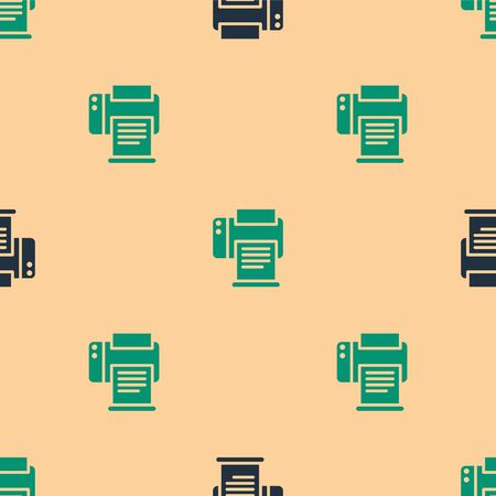 Green and black Printer icon isolated seamless pattern on beige background. Vector Illustration