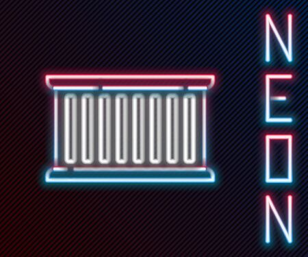Glowing neon line Container icon isolated on black background. Crane lifts a container with cargo. Colorful outline concept. Vector Illustration Stock Illustratie