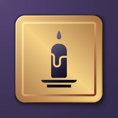 Purple Burning candle icon isolated on purple background. Cylindrical candle stick with burning flame. Gold square button. Vector Illustration