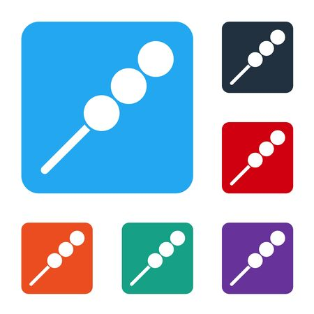 White Meatballs on wooden stick icon isolated on white background. Skewer with meat. Set icons in color square buttons. Vector Illustration. Ilustração