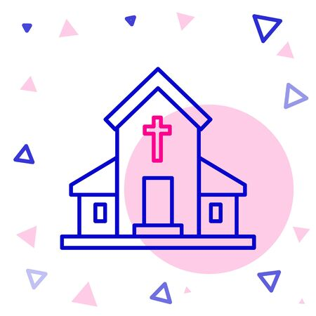 Line Church building icon isolated on white background. Christian Church. Religion of church. Colorful outline concept. Vector Illustration Vectores