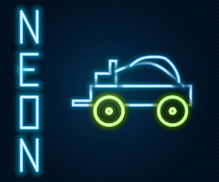 Glowing neon line Wild west covered wagon icon isolated on black background. Colorful outline concept. Vector Illustration