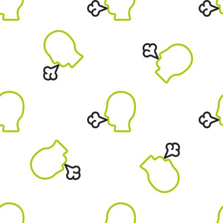 Line Man coughing icon isolated seamless pattern on white background. Viral infection, influenza, flu, cold symptom. Tuberculosis, mumps, whooping cough. Vector Illustration.