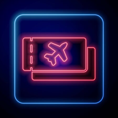 Glowing neon Airline ticket icon isolated on blue background. Plane ticket. Vector Illustration