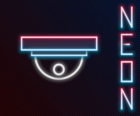 Glowing neon line Motion sensor icon isolated on black background. Colorful outline concept. Vector Illustration