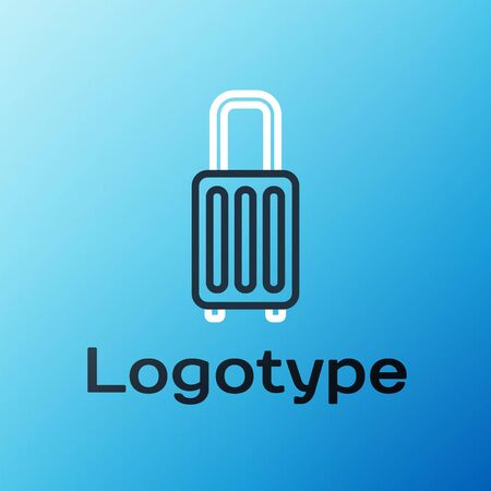 Line Suitcase for travel icon isolated on blue background. Traveling baggage sign. Travel luggage icon. Colorful outline concept. Vector Illustration