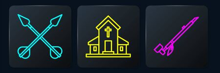 Set line Crossed arrows, Native American indian smoking pipe and Church building. Black square button. Vector.... Illusztráció