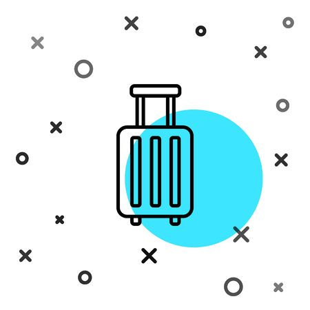 Black line Suitcase for travel icon isolated on white background. Traveling baggage sign. Travel luggage icon. Random dynamic shapes. Vector Illustration Illusztráció