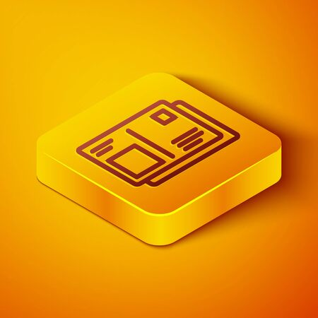 Isometric line Passport with visa stamp icon isolated on orange background. Identification Document. Yellow square button. Vector Illustration.