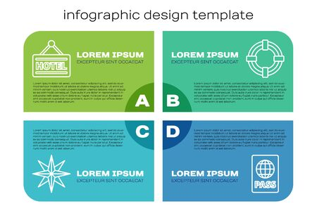 Set line Wind rose, Signboard with text Hotel, Passport and Lifebuoy. Business infographic template. Vector... 向量圖像