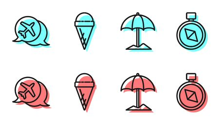 Set line Sun protective umbrella for beach, Speech bubble with airplane, Ice cream in waffle cone and Compass icon. Vector...