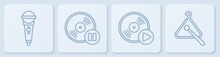 Set line Microphone, Vinyl disk, Vinyl disk and Triangle musical instrument. White square button. Vector Ilustrace