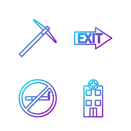 Set line Medical hospital building, No Smoking, Pickaxe and Fire exit. Gradient color icons. Vector