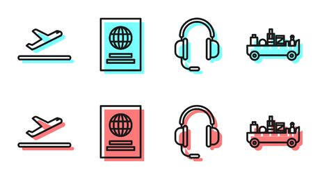Set line Headphones with microphone, Plane takeoff, Passport and Airport luggage towing truck icon. Vector