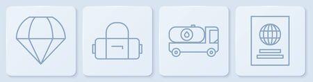 Set line Parachute, Fuel tanker truck, Suitcase and Passport. White square button. Vector