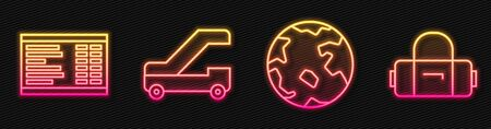 Set line Worldwide, Airport board, Passenger ladder for plane boarding and Suitcase. Glowing neon icon. Vector