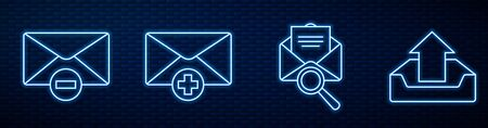 Set line Envelope with magnifying glass, Delete envelope, Received message concept, Upload inbox and Mail and e-mail on speech bubble. Glowing neon icon on brick wall. Vector