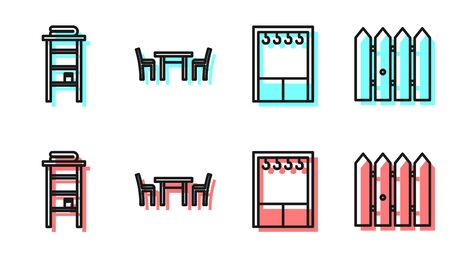 Set line Wardrobe, Bathroom rack with shelves for towels, Wooden table with chair and Garden fence wooden icon. Vector.