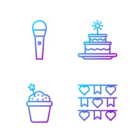 Set line Carnival garland with flags, Cake, Karaoke microphone and Cake with burning candles. Gradient color icons. Vector