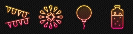 Set line Balloon with ribbon, Carnival garland with flags, Firework and Mulled wine. Glowing neon icon. Vector