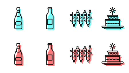 Set line Christmas lights, Champagne bottle, Beer bottle and Cake with burning candles icon. Vector