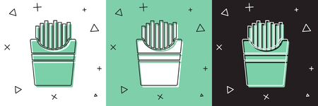 Set Potatoes french fries in carton package box icon isolated on white and green, black background. Fast food menu. Vector Illustration Illustration