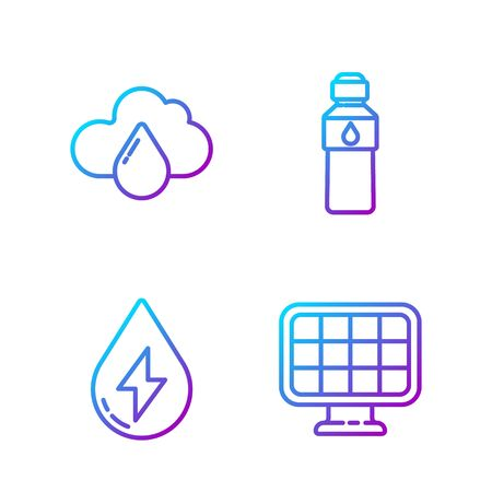 Set line Solar energy panel, Water energy, Cloud with rain and Bottle of water. Gradient color icons. Vector. Illustration