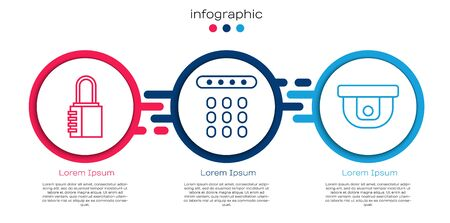 Set line Safe combination lock, Password protection and Motion sensor. Business infographic template. Vector