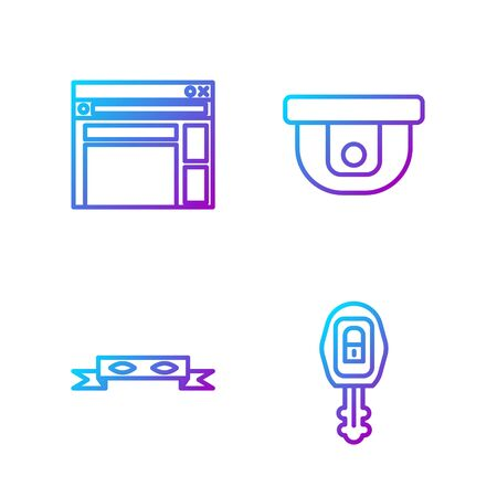 Set line Car key with remote, Thief eye mask, Website template and Motion sensor. Gradient color icons. Vector.