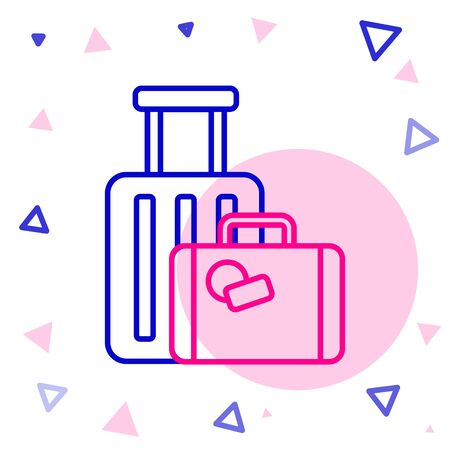 Line Suitcase for travel icon isolated on white background. Traveling baggage sign. Travel luggage icon. Colorful outline concept. Vector Illustration