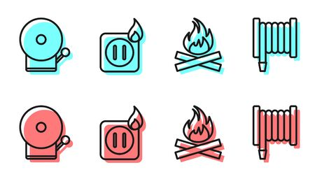 Set line Campfire, Ringing alarm bell, Electric wiring of socket in fire and Fire hose reel icon. Vector