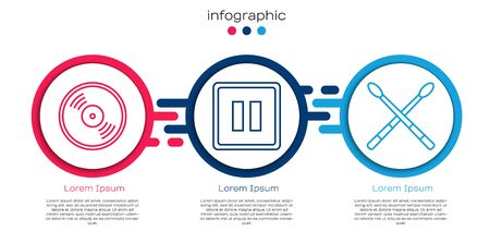 Set line Vinyl disk, Pause button and Drum sticks. Business infographic template. Vector