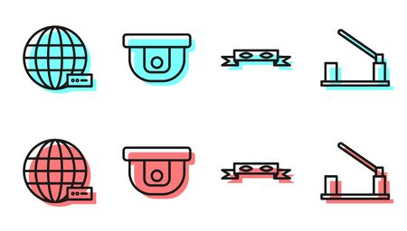 Set line Thief eye mask, Social network, Motion sensor and Parking car barrier icon. Vector