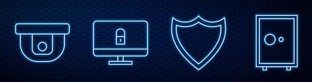Set line Shield, Motion sensor, Lock on computer monitor and Safe. Glowing neon icon on brick wall. Vector