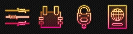 Set line Lock and key, Barbed wire, Bulletproof vest and Passport. Glowing neon icon. Vector