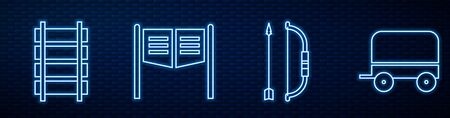 Set line Bow and arrow in quiver, Railway, railroad track, Saloon door, Wild west covered wagon and Canteen water bottle. Glowing neon icon on brick wall. Vector...