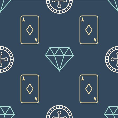 Set line Casino roulette wheel, Playing card with diamonds and Diamond on seamless pattern. Vector