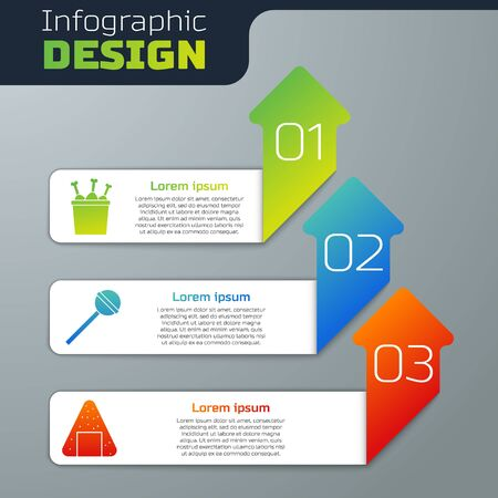 Set Chicken leg in package box, Lollipop and Onigiri. Business infographic template. Vector