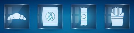Set Croissant, Hard bread chucks crackers, Chocolate bar and Potatoes french fries in box. Square glass panels. Vector.