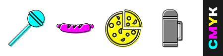 Set Lollipop, Hotdog sandwich, Pizza and Thermo container icon. Vector