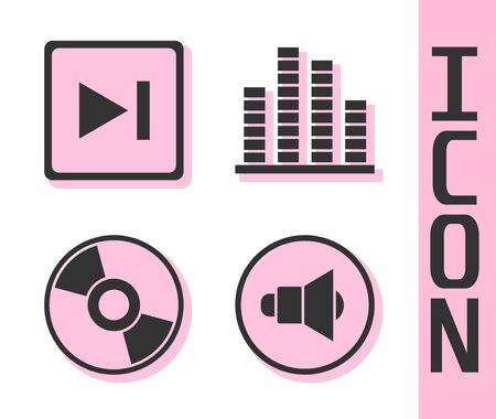 Set Speaker volume, Fast forward, CD or DVD disk and Music equalizer icon. Vector.
