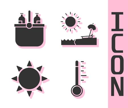 Set Meteorology thermometer, Cooler bag and water, Sun and Beach with umbrella and chair icon. Vector