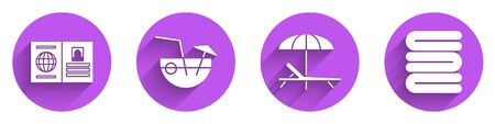 Set Passport, Coconut cocktail, Sunbed and umbrella and Towel stack icon with long shadow. Vector. 向量圖像