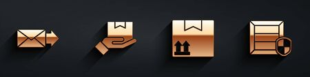 Set Envelope, Delivery hand with boxes, Cardboard box with traffic symbol and Delivery pack security with shield icon with long shadow. Vector.