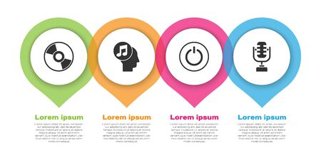 Set CD or DVD disk, Musical note in human head, Power button and Microphone. Business infographic template. Vector.