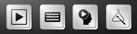 Set Play in square, Sound mixer controller, Head people with play button and Triangle musical instrument icon. Silver square button. Vector