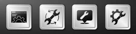Set Browser setting, Wrench and arrows as workflow, Location with wrench spanner and Wrench spanner and gear icon. Silver square button. Vector. 向量圖像